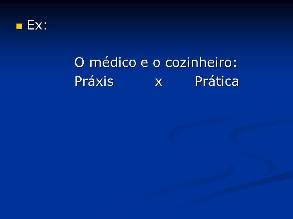Ex: Ex: O médico e o cozinheiro: Práxis x Prática