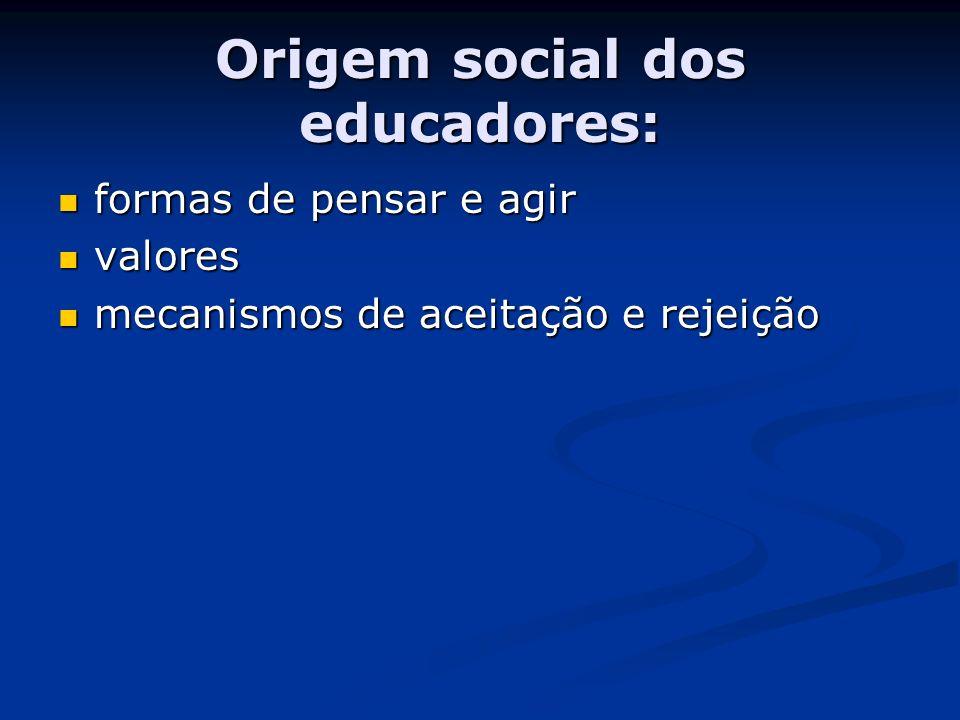 Origem social dos educadores: formas de pensar e agir formas de pensar e agir valores valores mecanismos de aceitação e rejeição mecanismos de aceitaç