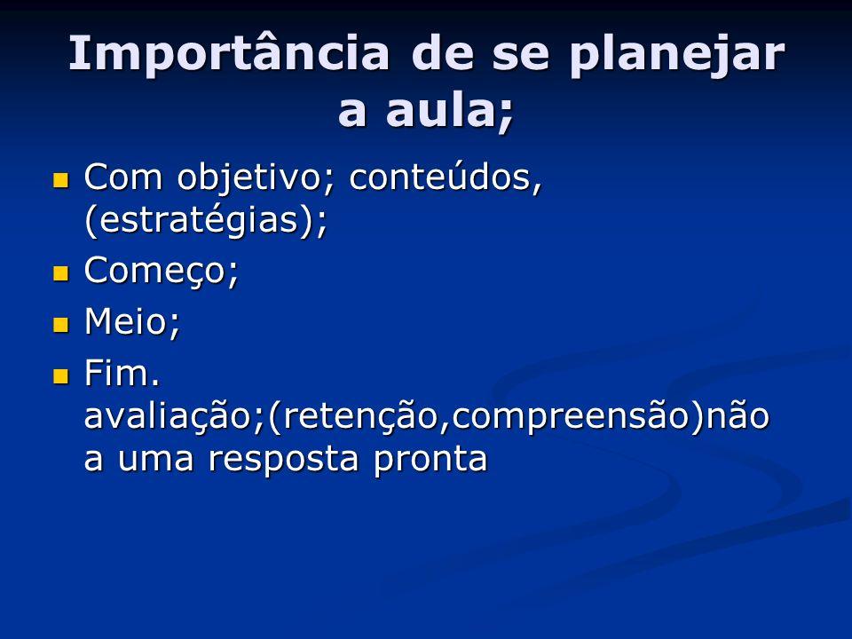 Importância de se planejar a aula; Com objetivo; conteúdos, (estratégias); Com objetivo; conteúdos, (estratégias); Começo; Começo; Meio; Meio; Fim. av