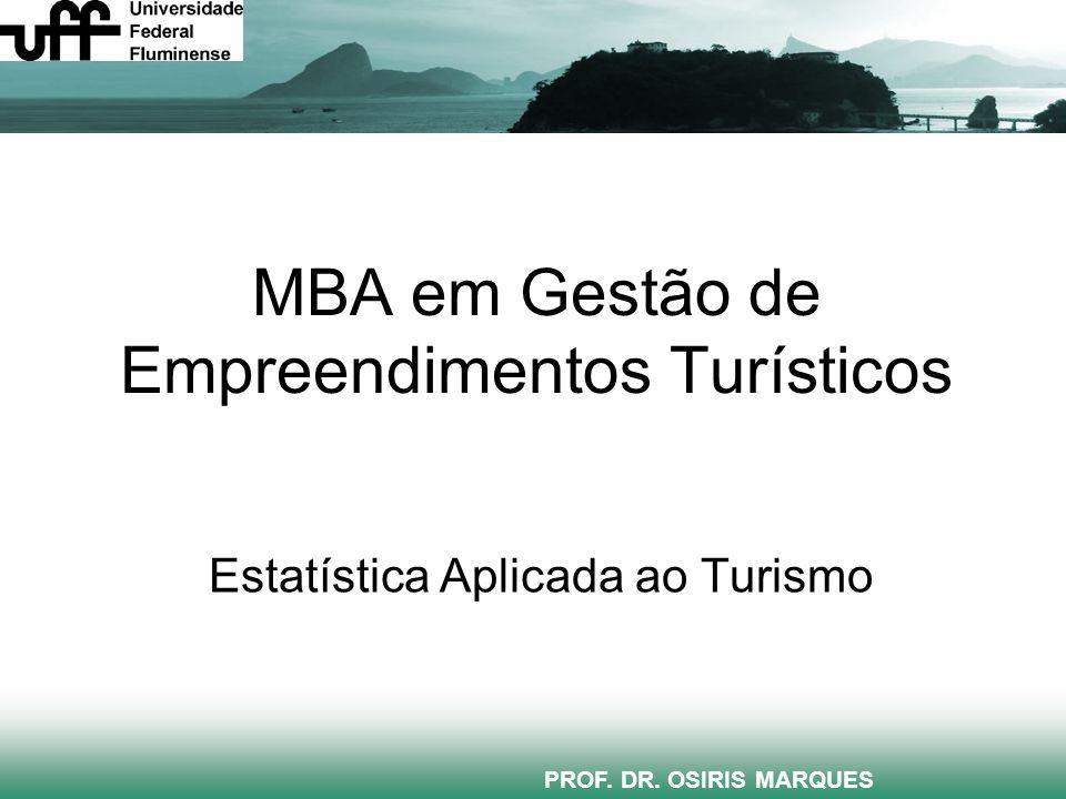 MBA em Gestão de Empreendimentos Turísticos Estatística Aplicada ao Turismo PROF. DR. OSIRIS MARQUES