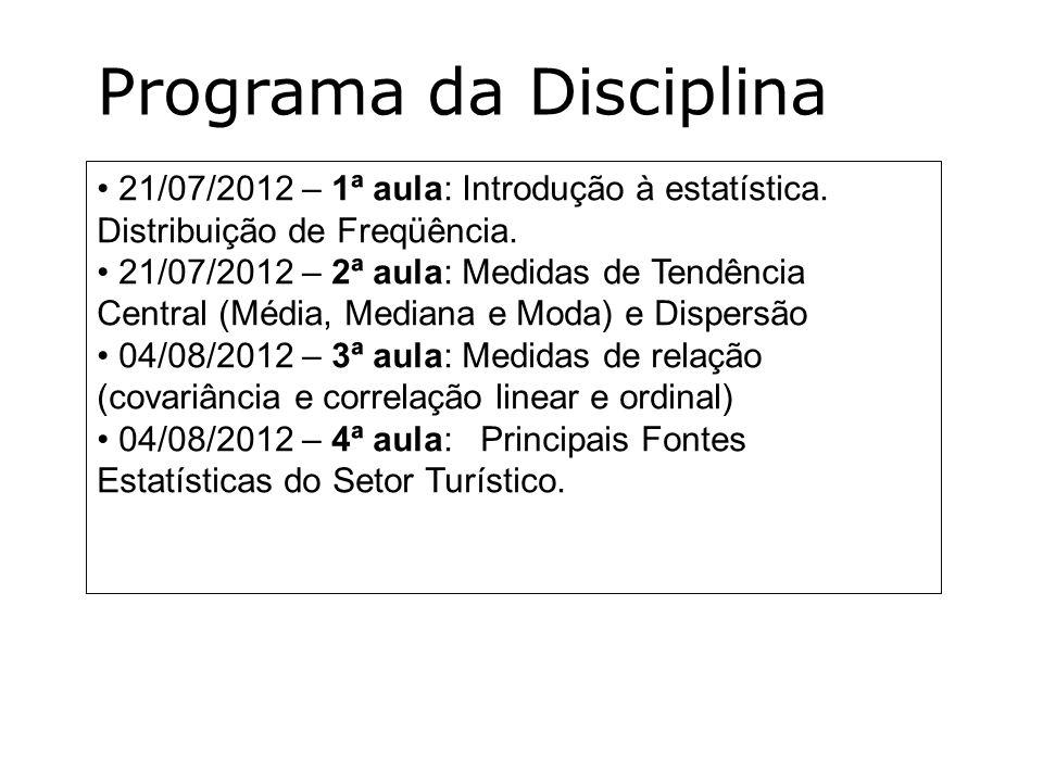 21/07/2012 – 1ª aula: Introdução à estatística. Distribuição de Freqüência. 21/07/2012 – 2ª aula: Medidas de Tendência Central (Média, Mediana e Moda)