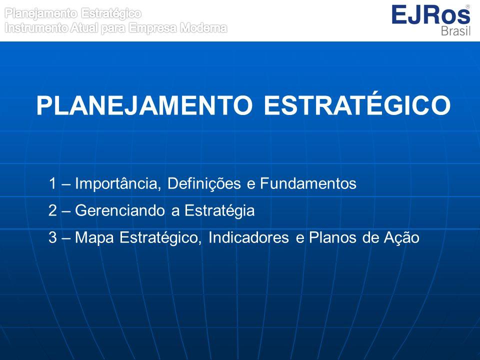 1 – Importância, Definições e Fundamentos 2 – Gerenciando a Estratégia 3 – Mapa Estratégico, Indicadores e Planos de Ação PLANEJAMENTO ESTRATÉGICO
