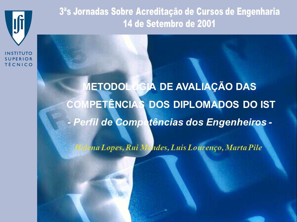 METODOLOGIA DE AVALIAÇÃO DAS COMPETÊNCIAS DOS DIPLOMADOS DO IST - Perfil de Competências dos Engenheiros - Helena Lopes, Rui Mendes, Luis Lourenço, Ma