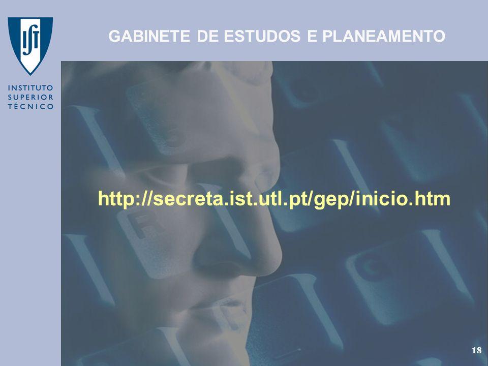 GEP - Gabinete de Estudos e Planeamento 18 http://secreta.ist.utl.pt/gep/inicio.htm GABINETE DE ESTUDOS E PLANEAMENTO