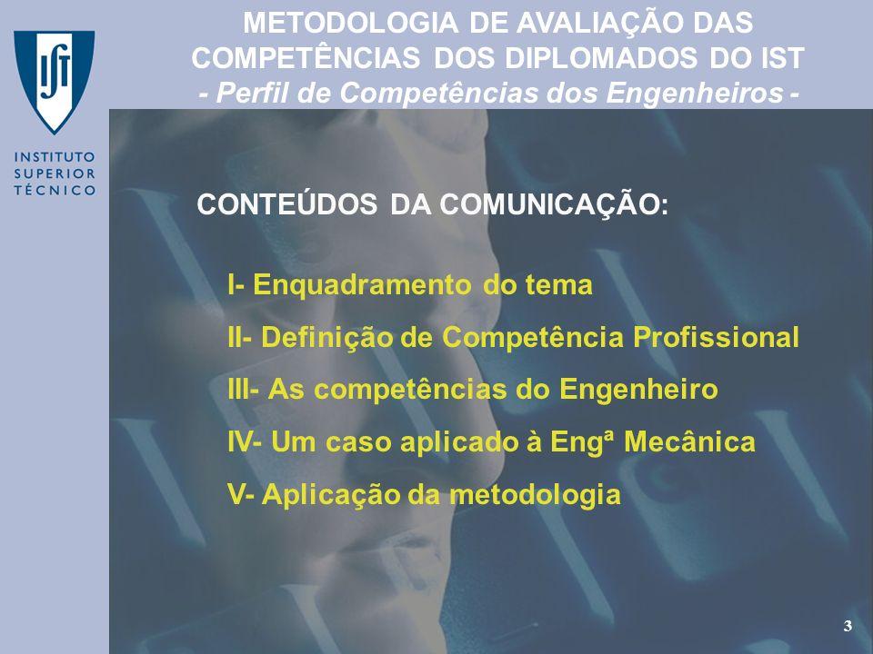 GEP - Gabinete de Estudos e Planeamento 3 I- Enquadramento do tema II- Definição de Competência Profissional III- As competências do Engenheiro IV- Um