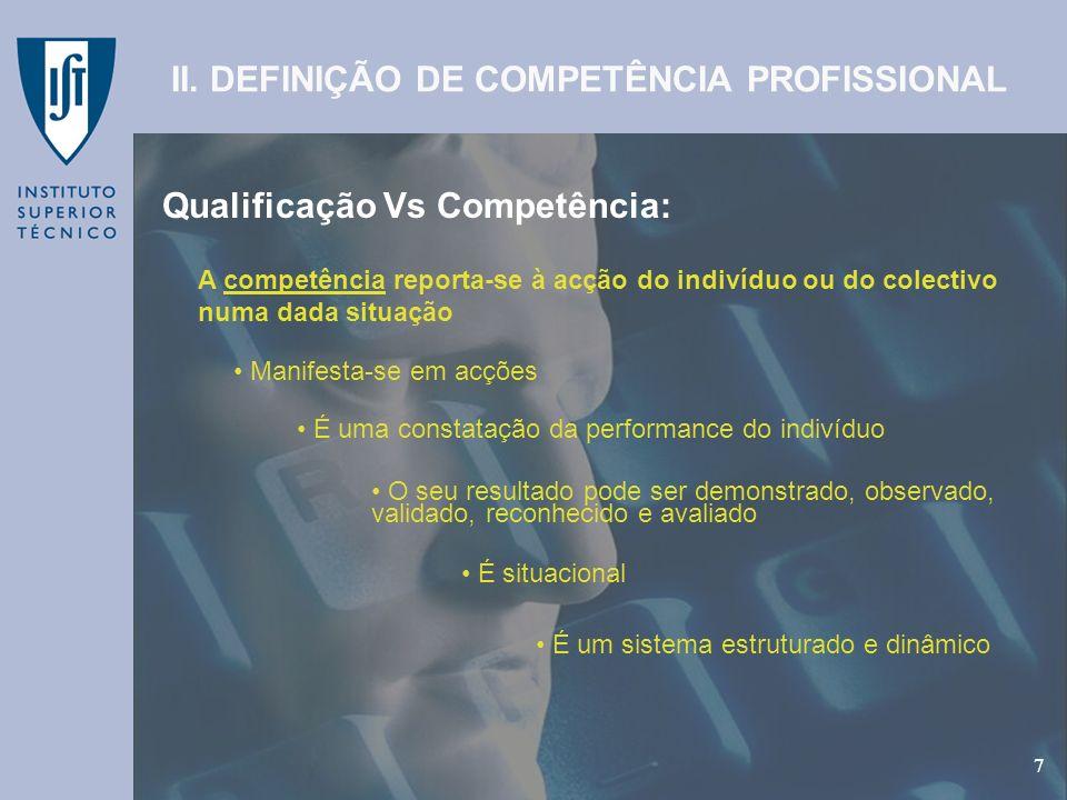 GEP - Gabinete de Estudos e Planeamento 7 Qualificação Vs Competência: 7 II. DEFINIÇÃO DE COMPETÊNCIA PROFISSIONAL A competência reporta-se à acção do