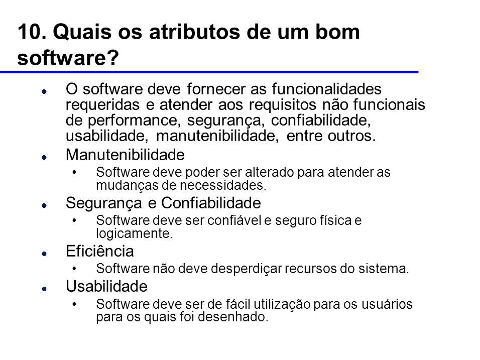 10.Quais os atributos de um bom software.
