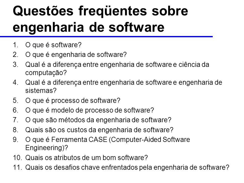 Questões freqüentes sobre engenharia de software 1.O que é software.