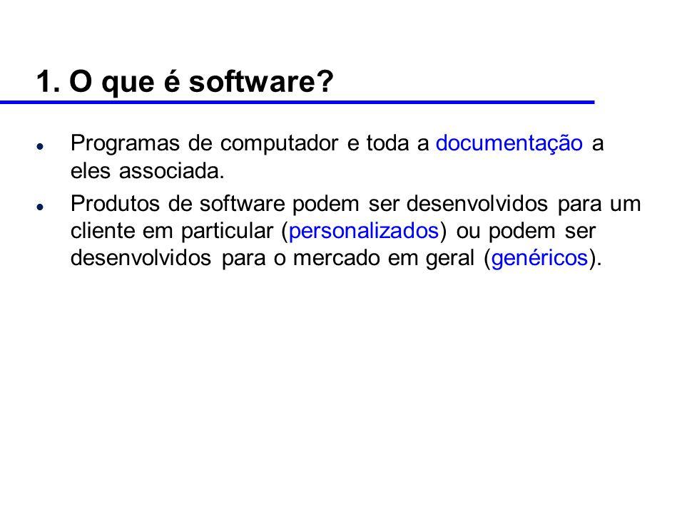 1.O que é software. l Programas de computador e toda a documentação a eles associada.