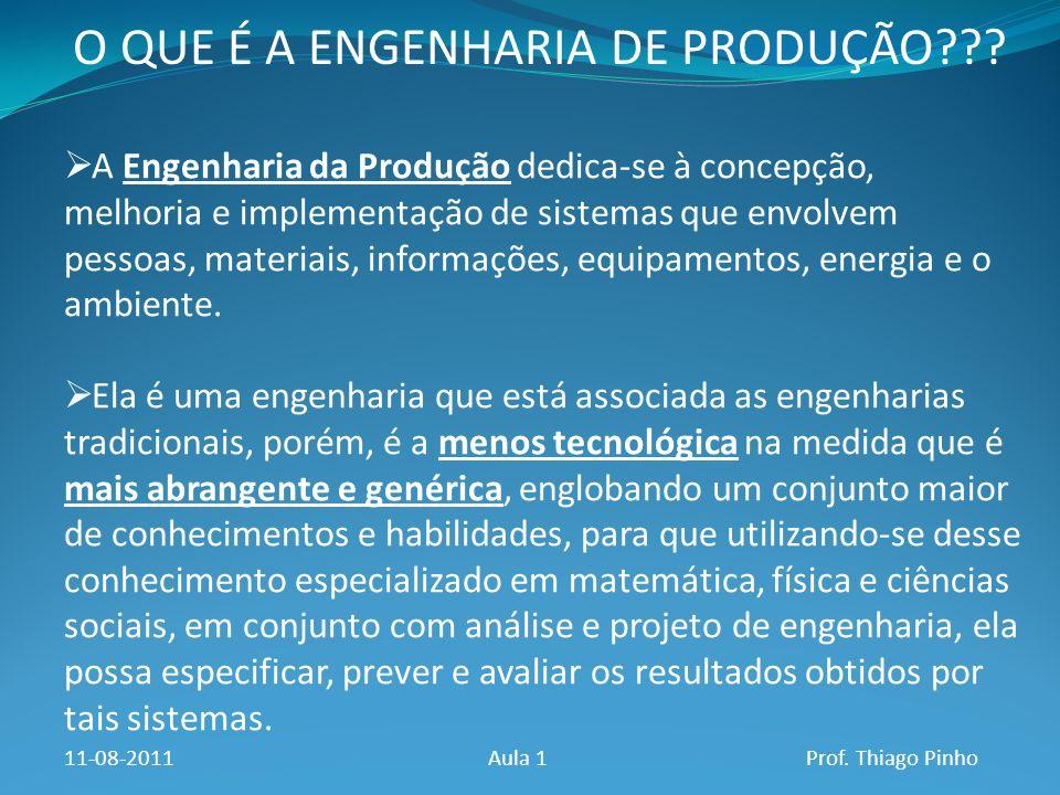O QUE É A ENGENHARIA DE PRODUÇÃO??? A Engenharia da Produção dedica-se à concepção, melhoria e implementação de sistemas que envolvem pessoas, materia