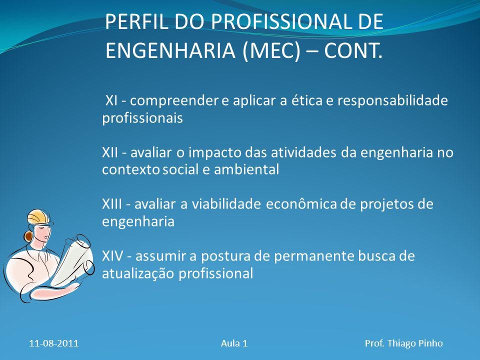 PERFIL DO PROFISSIONAL DE ENGENHARIA (MEC) – CONT. 11-08-2011Aula 1Prof. Thiago Pinho XI - compreender e aplicar a ética e responsabilidade profission