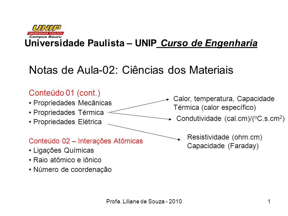 Profa. Liliane de Souza - 20101 Universidade Paulista – UNIP Curso de Engenharia Notas de Aula-02: Ciências dos Materiais Conteúdo 01 (cont.) Propried