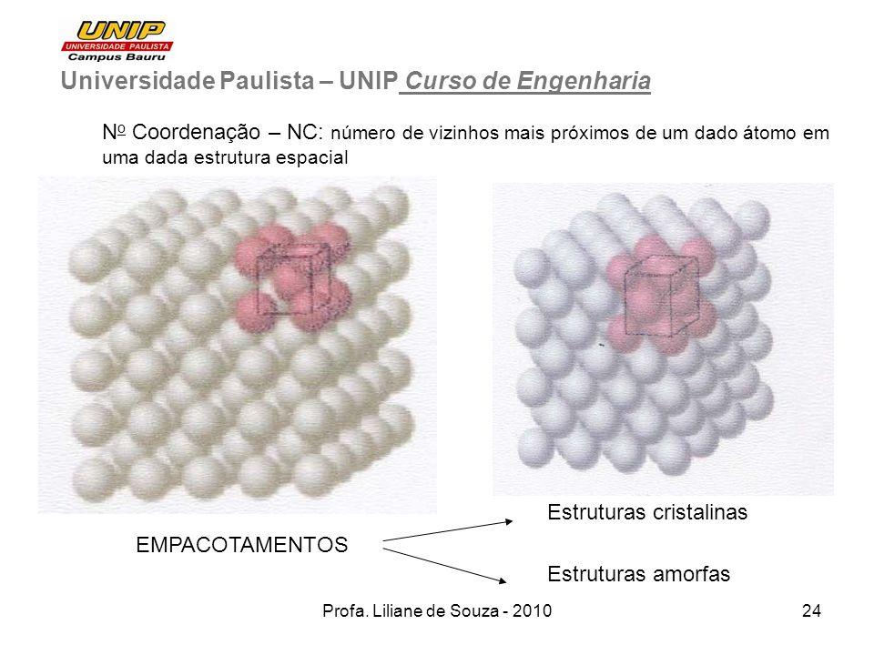 Profa. Liliane de Souza - 201024 Universidade Paulista – UNIP Curso de Engenharia N o Coordenação – NC: número de vizinhos mais próximos de um dado át