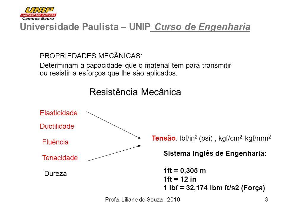 Profa. Liliane de Souza - 20103 Universidade Paulista – UNIP Curso de Engenharia PROPRIEDADES MECÂNICAS: Determinam a capacidade que o material tem pa