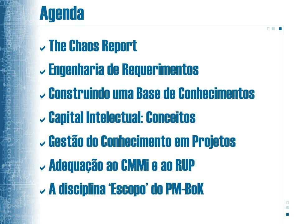 Agenda The Chaos Report Engenharia de Requerimentos Construindo uma Base de Conhecimentos Capital Intelectual: Conceitos Gestão do Conhecimento em Projetos Adequação ao CMMi e ao RUP A disciplina Escopo do PM-BoK