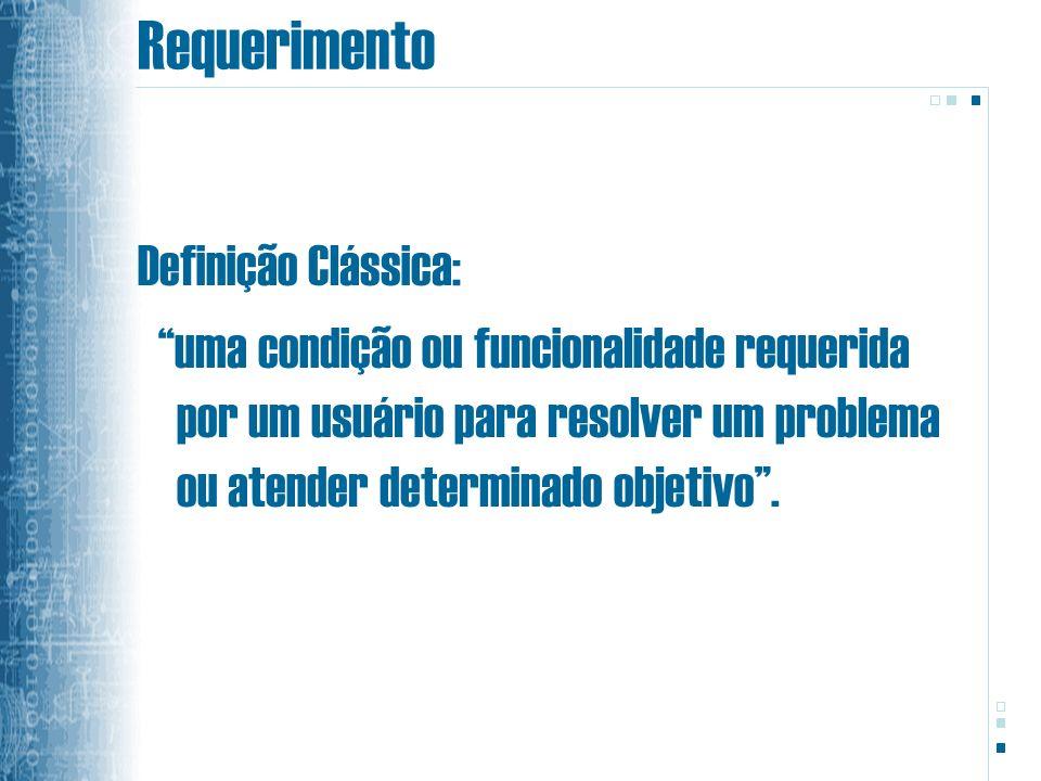 Requerimento Definição Clássica: uma condição ou funcionalidade requerida por um usuário para resolver um problema ou atender determinado objetivo.