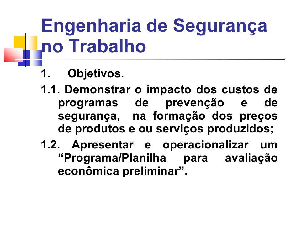 Engenharia de Segurança no Trabalho 1. Objetivos.