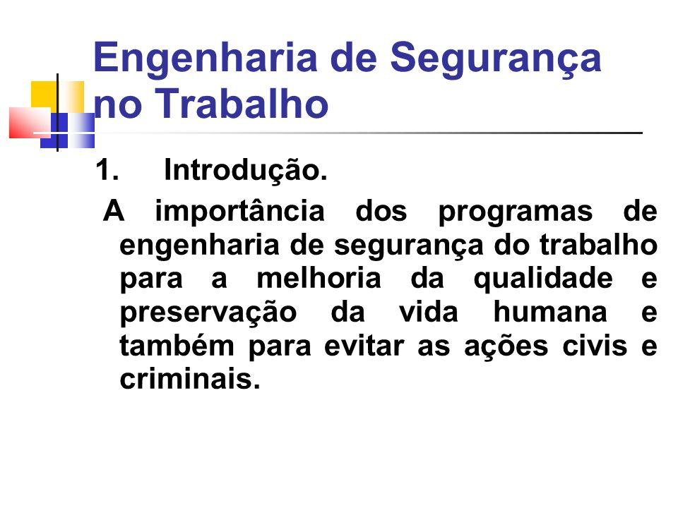 Engenharia de Segurança no Trabalho 1. Introdução.