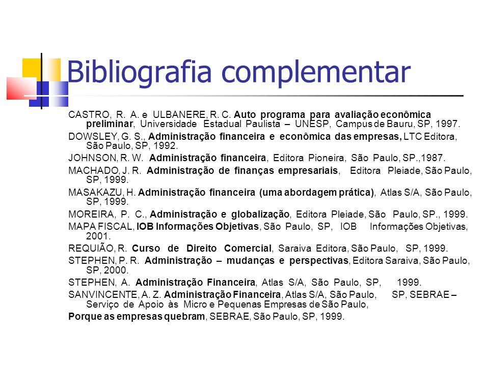 Bibliografia complementar CASTRO, R. A. e ULBANERE, R.