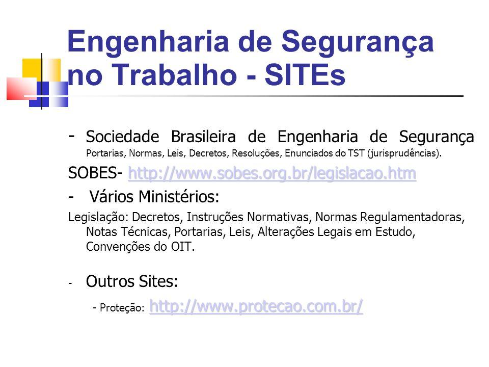 Engenharia de Segurança no Trabalho - SITEs - Sociedade Brasileira de Engenharia de Segurança Portarias, Normas, Leis, Decretos, Resoluções, Enunciados do TST (jurisprudências).
