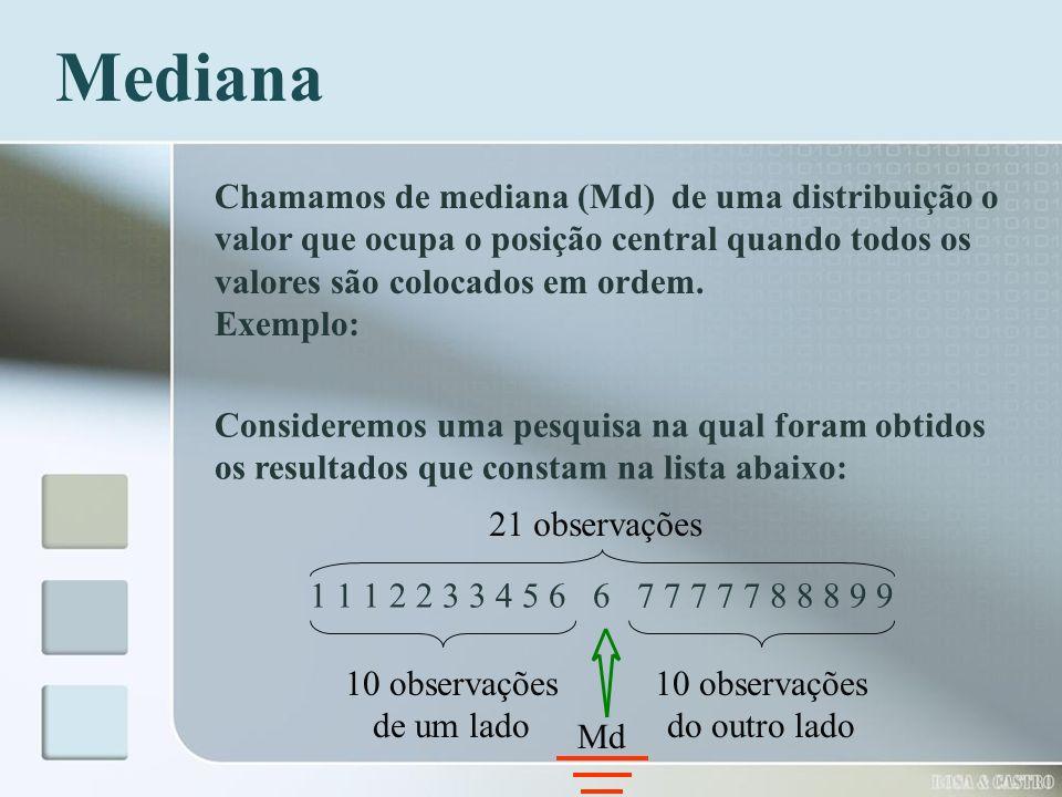 Consideremos uma pesquisa na qual foram obtidos os resultados que constam na lista abaixo: 1 1 1 2 2 3 3 4 5 6 6 7 7 7 7 7 8 8 8 9 9 Mediana Chamamos