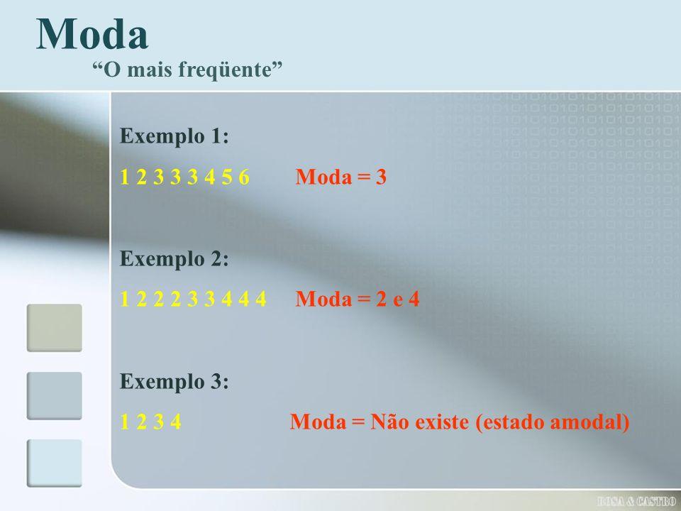 Moda O mais freqüente Exemplo 1: 1 2 3 3 3 4 5 6 Moda = 3 Exemplo 2: 1 2 2 2 3 3 4 4 4 Moda = 2 e 4 Exemplo 3: 1 2 3 4 Moda = Não existe (estado amoda
