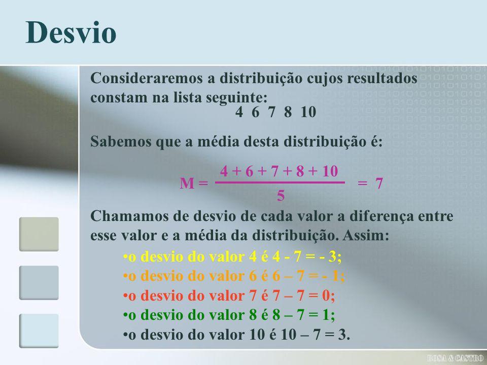 Desvio Consideraremos a distribuição cujos resultados constam na lista seguinte: 4 6 7 8 10 Sabemos que a média desta distribuição é: 4 + 6 + 7 + 8 +