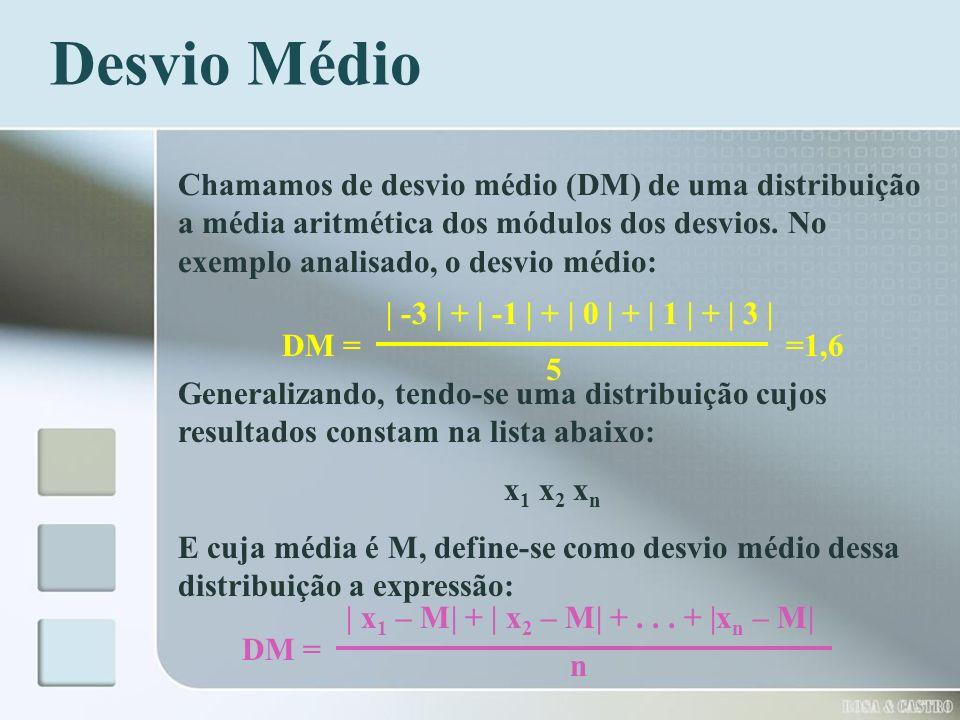 Desvio Médio Chamamos de desvio médio (DM) de uma distribuição a média aritmética dos módulos dos desvios. No exemplo analisado, o desvio médio: DM =
