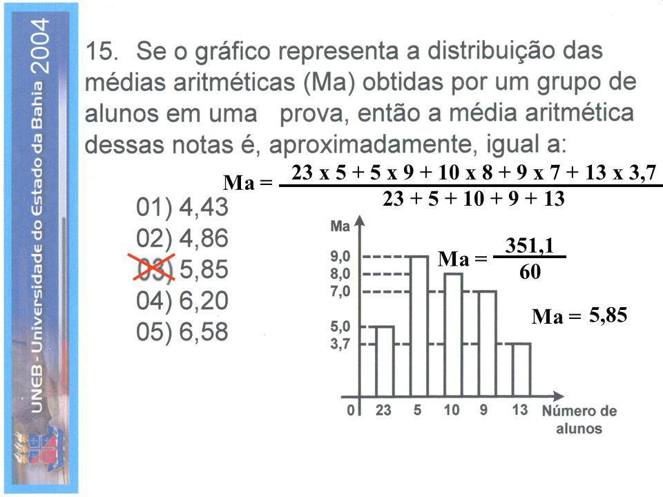 23 x 5 + 5 x 9 + 10 x 8 + 9 x 7 + 13 x 3,7 23 + 5 + 10 + 9 + 13 Ma = 351,1 60 Ma = 5,85