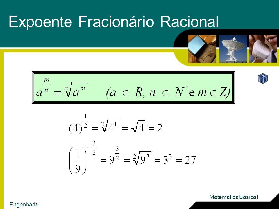 Expoente Fracionário Racional Matemática Básica I Engenharia