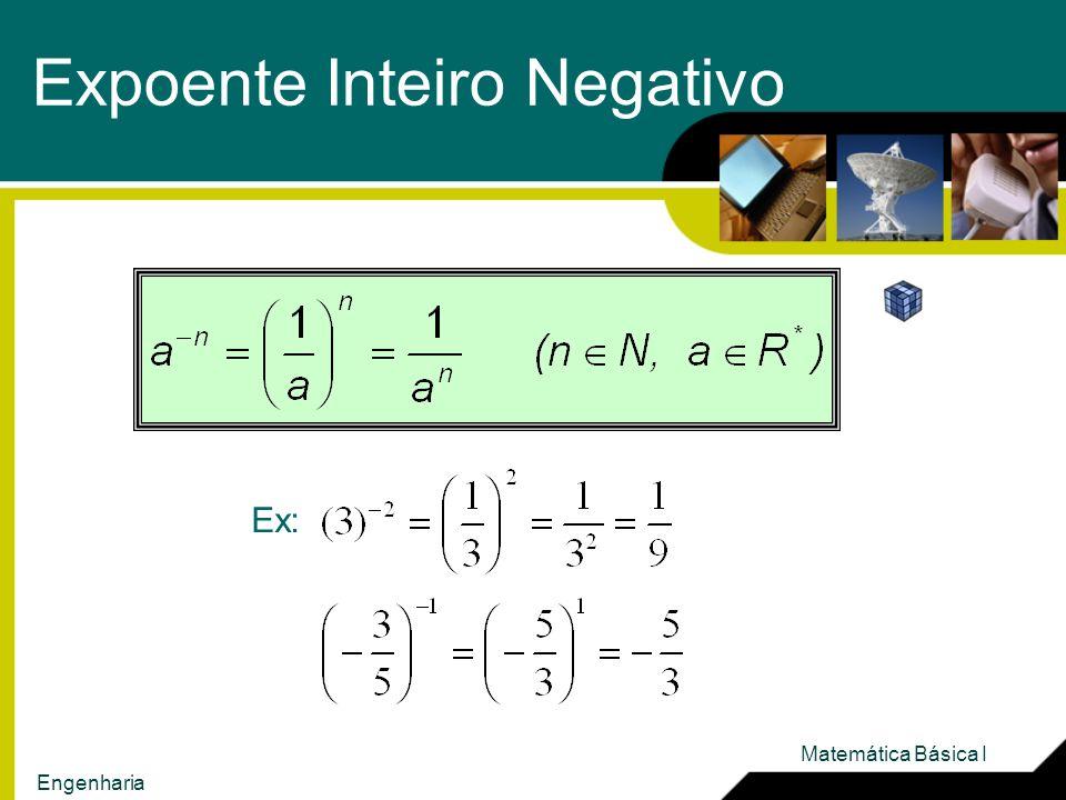 Expoente Inteiro Negativo Ex: Matemática Básica I Engenharia
