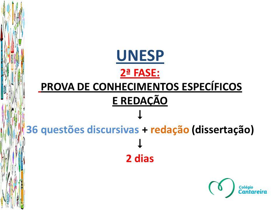 UNESP 2ª FASE: PROVA DE CONHECIMENTOS ESPECÍFICOS E REDAÇÃO 36 questões discursivas + redação (dissertação) 2 dias