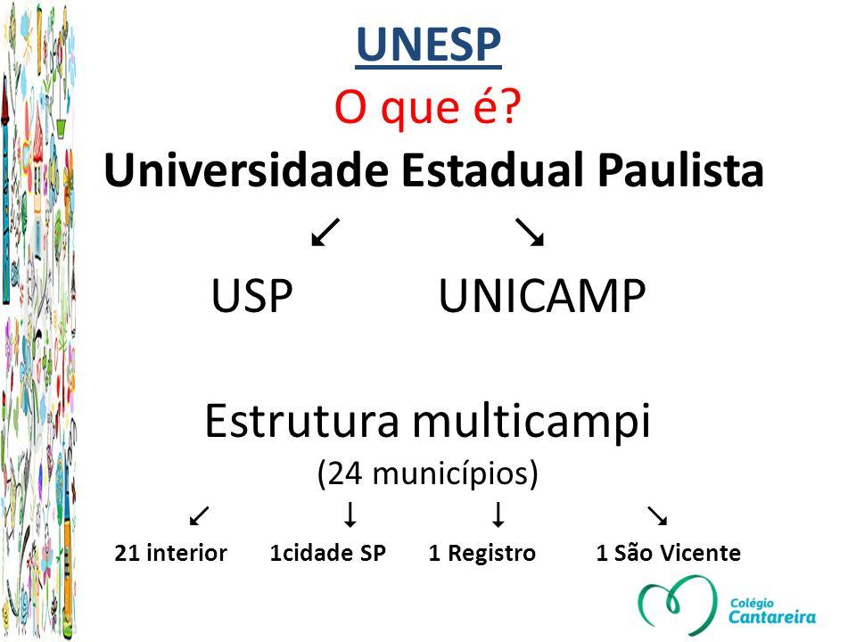 UNESP 24 municípios 32 faculdades 168 graduação 114 pós Classificação Acadêmica das Universidades Mundiais (ARWU - sigla em inglês) de 2012 entre as 5 melhores Universidades do BrasilClassificação Acadêmica das Universidades Mundiais