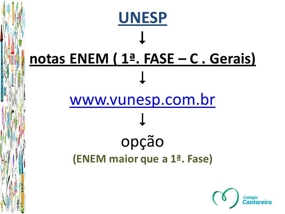 UNESP notas ENEM ( 1ª.FASE – C. Gerais) www.vunesp.com.br opção (ENEM maior que a 1ª.