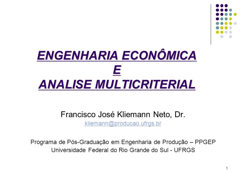 ENGENHARIA ECONÔMICA E ANALISE MULTICRITERIAL Francisco José Kliemann Neto, Dr. kliemann@producao.ufrgs.br Programa de Pós-Graduação em Engenharia de