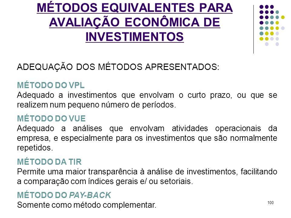 MÉTODOS EQUIVALENTES PARA AVALIAÇÃO ECONÔMICA DE INVESTIMENTOS ADEQUAÇÃO DOS MÉTODOS APRESENTADOS: MÉTODO DO VPL Adequado a investimentos que envolvam