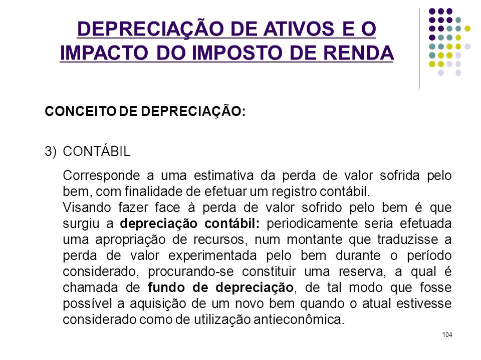 DEPRECIAÇÃO DE ATIVOS E O IMPACTO DO IMPOSTO DE RENDA CONCEITO DE DEPRECIAÇÃO: 3)CONTÁBIL Corresponde a uma estimativa da perda de valor sofrida pelo
