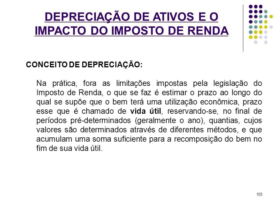 DEPRECIAÇÃO DE ATIVOS E O IMPACTO DO IMPOSTO DE RENDA CONCEITO DE DEPRECIAÇÃO: Na prática, fora as limitações impostas pela legislação do Imposto de R