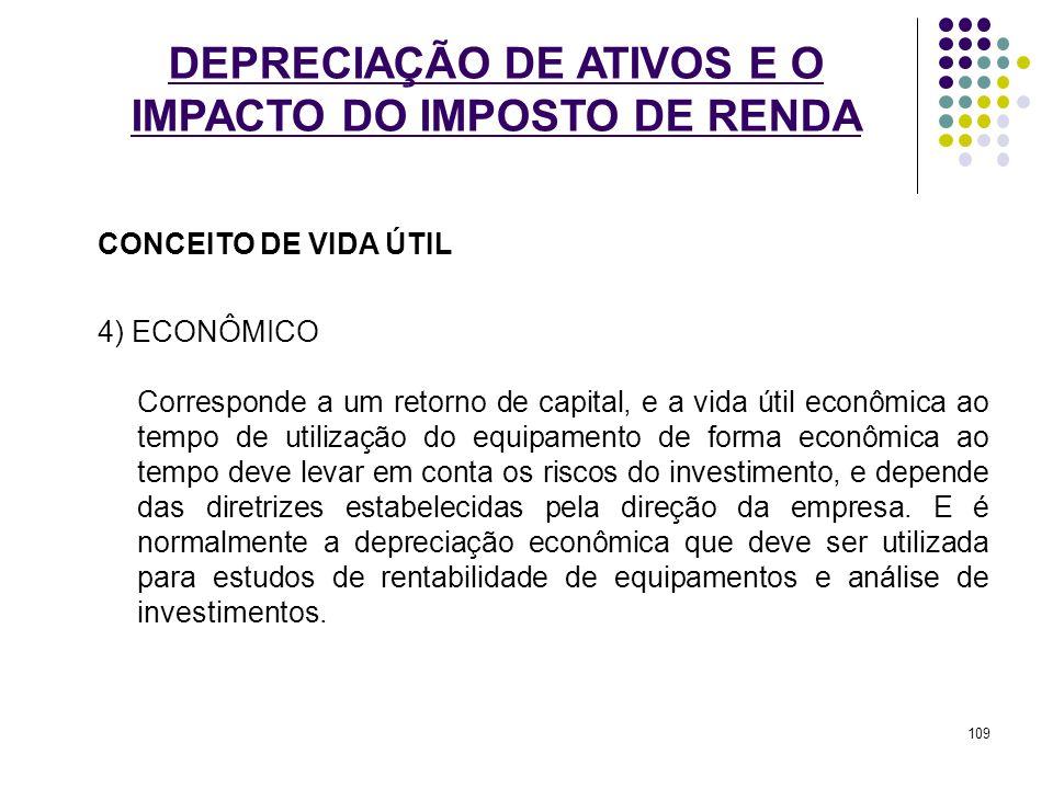 DEPRECIAÇÃO DE ATIVOS E O IMPACTO DO IMPOSTO DE RENDA CONCEITO DE VIDA ÚTIL 4) ECONÔMICO Corresponde a um retorno de capital, e a vida útil econômica