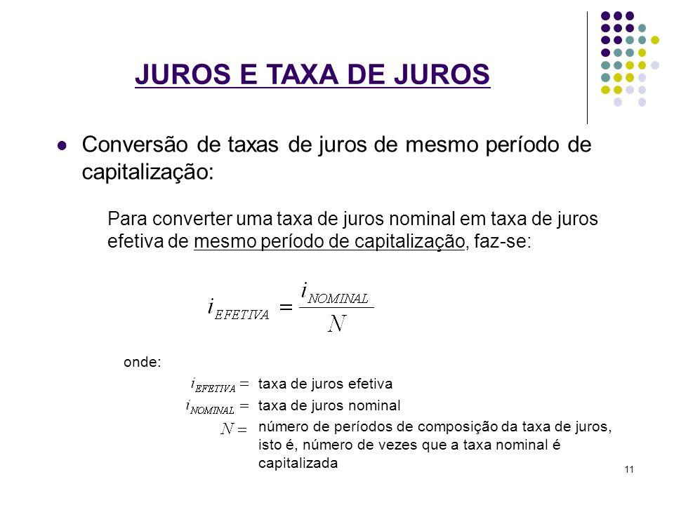 JUROS E TAXA DE JUROS Conversão de taxas de juros de mesmo período de capitalização: Para converter uma taxa de juros nominal em taxa de juros efetiva