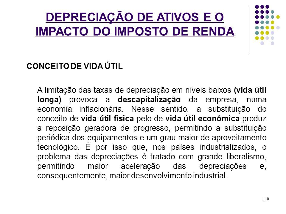 DEPRECIAÇÃO DE ATIVOS E O IMPACTO DO IMPOSTO DE RENDA CONCEITO DE VIDA ÚTIL A limitação das taxas de depreciação em níveis baixos (vida útil longa) pr