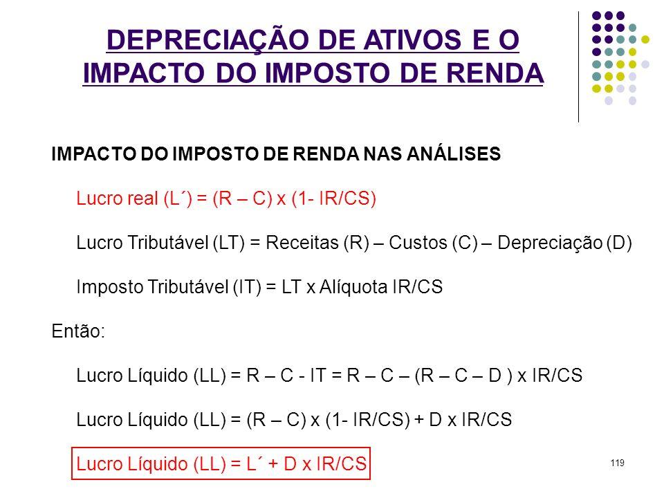 DEPRECIAÇÃO DE ATIVOS E O IMPACTO DO IMPOSTO DE RENDA IMPACTO DO IMPOSTO DE RENDA NAS ANÁLISES Lucro real (L´) = (R – C) x (1- IR/CS) Lucro Tributável