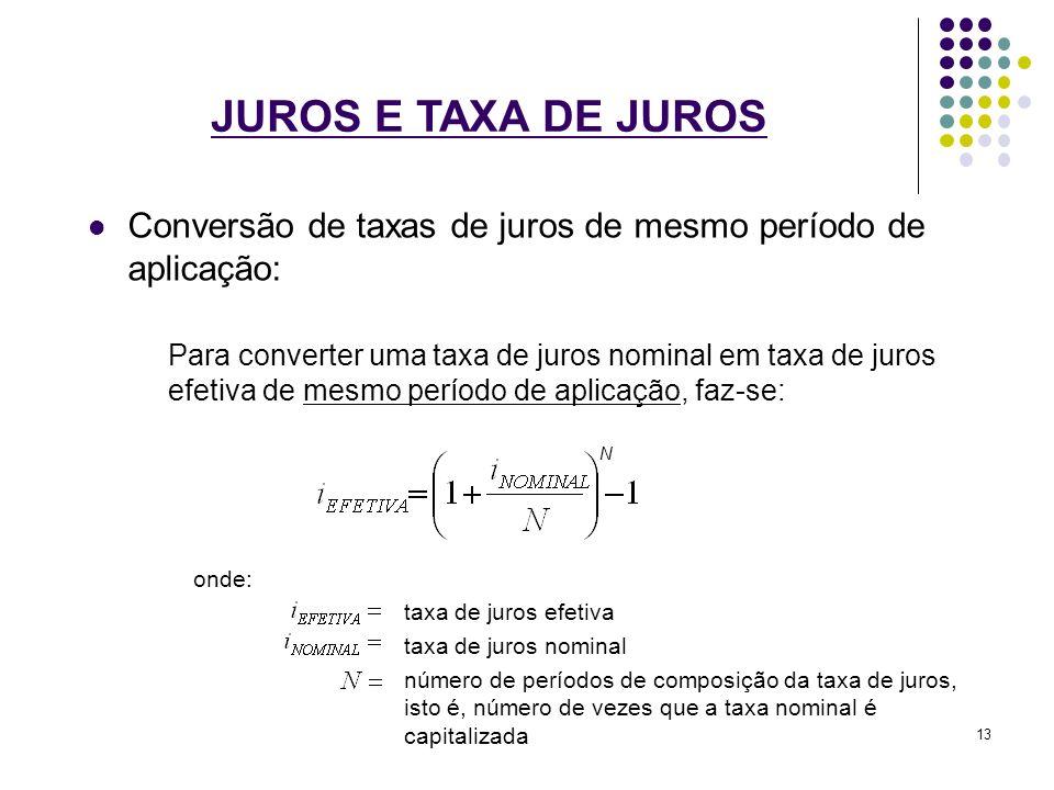 JUROS E TAXA DE JUROS Conversão de taxas de juros de mesmo período de aplicação: Para converter uma taxa de juros nominal em taxa de juros efetiva de