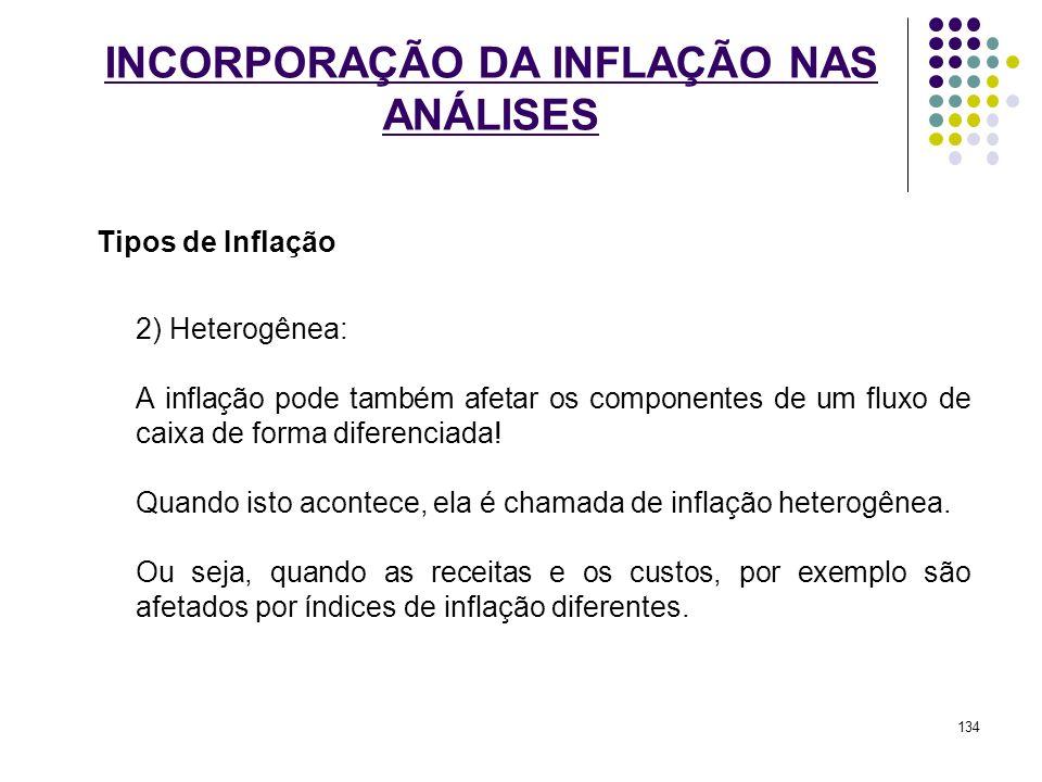 INCORPORAÇÃO DA INFLAÇÃO NAS ANÁLISES Tipos de Inflação 2) Heterogênea: A inflação pode também afetar os componentes de um fluxo de caixa de forma dif