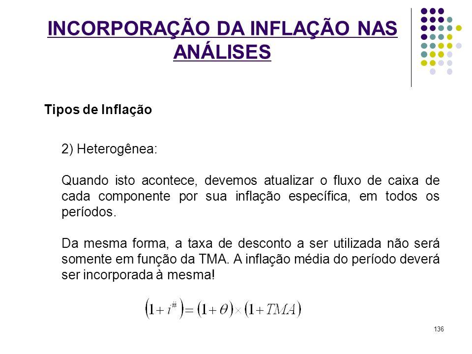 INCORPORAÇÃO DA INFLAÇÃO NAS ANÁLISES Tipos de Inflação 2) Heterogênea: Quando isto acontece, devemos atualizar o fluxo de caixa de cada componente po