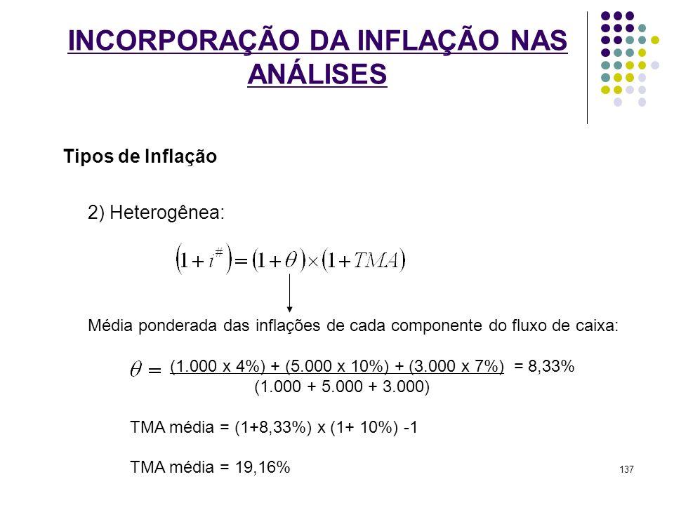 INCORPORAÇÃO DA INFLAÇÃO NAS ANÁLISES Tipos de Inflação 2) Heterogênea: Média ponderada das inflações de cada componente do fluxo de caixa: (1.000 x 4