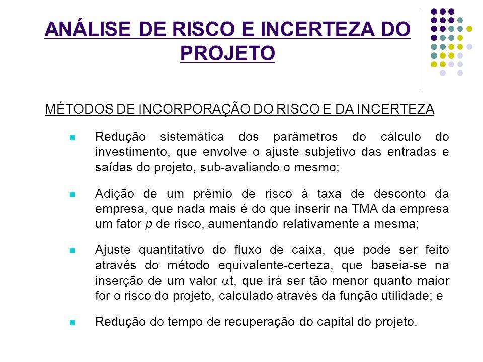 ANÁLISE DE RISCO E INCERTEZA DO PROJETO MÉTODOS DE INCORPORAÇÃO DO RISCO E DA INCERTEZA Redução sistemática dos parâmetros do cálculo do investimento,