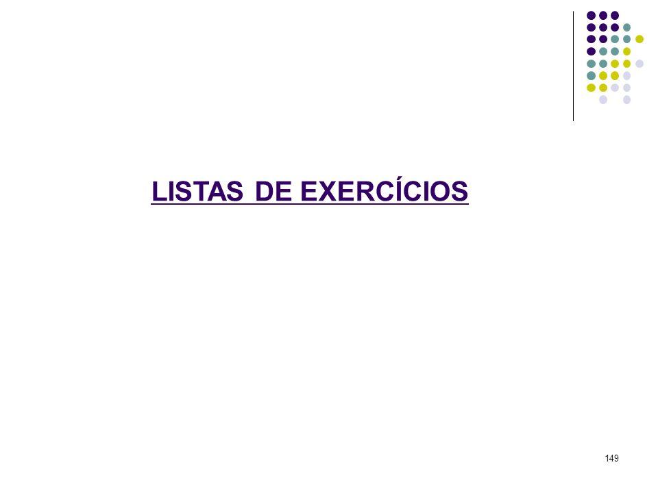 LISTAS DE EXERCÍCIOS 149