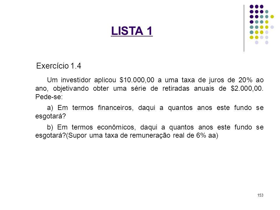 LISTA 1 Exercício 1.4 Um investidor aplicou $10.000,00 a uma taxa de juros de 20% ao ano, objetivando obter uma série de retiradas anuais de $2.000,00