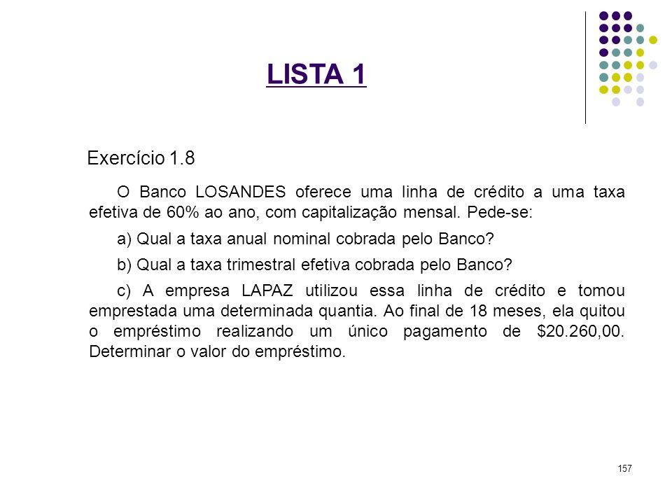 LISTA 1 Exercício 1.8 O Banco LOSANDES oferece uma linha de crédito a uma taxa efetiva de 60% ao ano, com capitalização mensal. Pede-se: a) Qual a tax